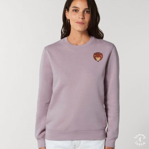 tommy and lottie adults organic cotton hedgehog sweatshirt - lilac petal