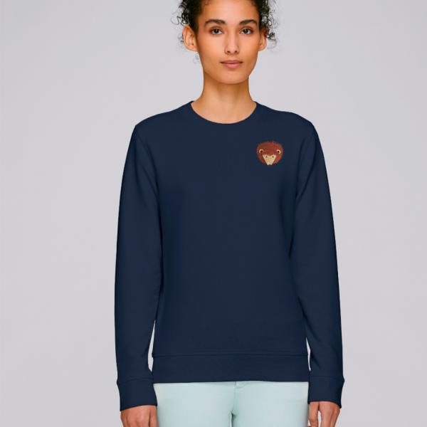 tommy and lottie adults organic cotton hedgehog sweatshirt - navy