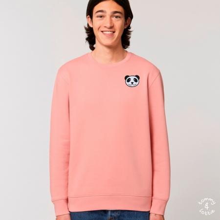 tommy and lottie adults organic cotton panda sweatshirt - canyon pink