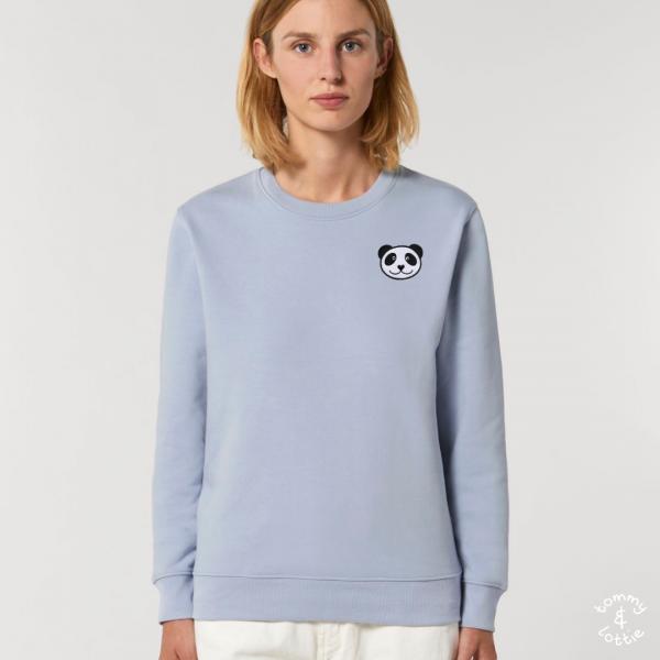 tommy and lottie adults organic cotton panda sweatshirt - serene blue