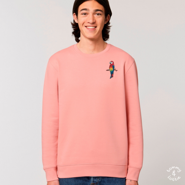 tommy and lottie adults organic cotton parrot sweatshirt - canyon pink