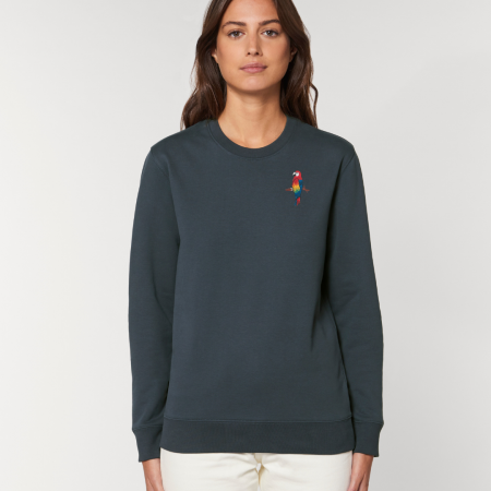 tommy and lottie adults organic cotton parrot sweatshirt - ink grey