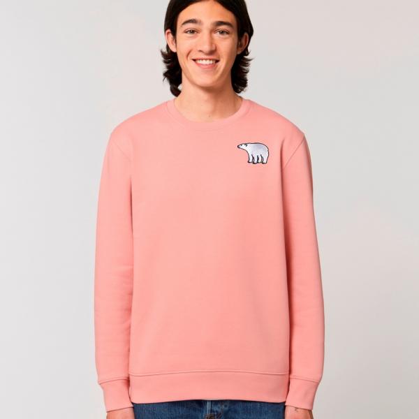 tommy and lottie adults organic cotton polar bear sweatshirt - canyon pink