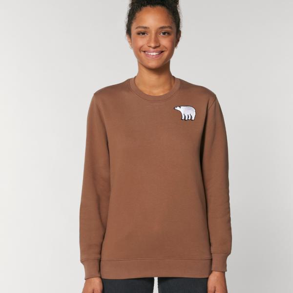 tommy and lottie adults organic cotton polar bear sweatshirt - caramel