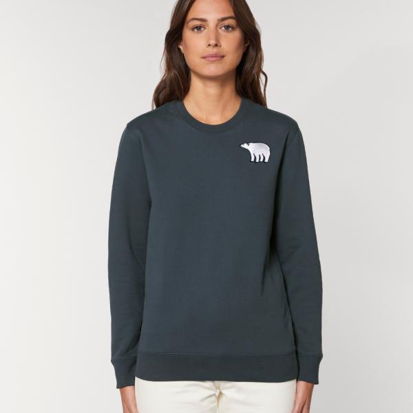 tommy and lottie adults organic cotton polar bear sweatshirt - ink grey