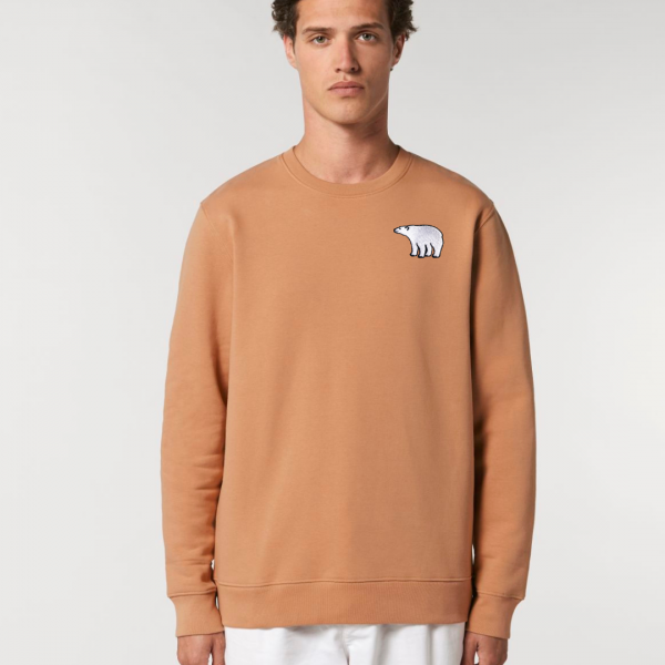 tommy and lottie adults organic cotton polar bear sweatshirt - mushroom