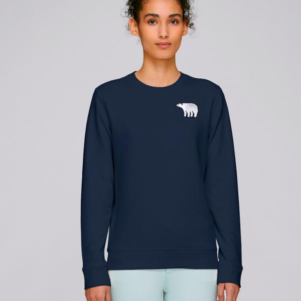 tommy and lottie adults organic cotton polar bear sweatshirt - navy