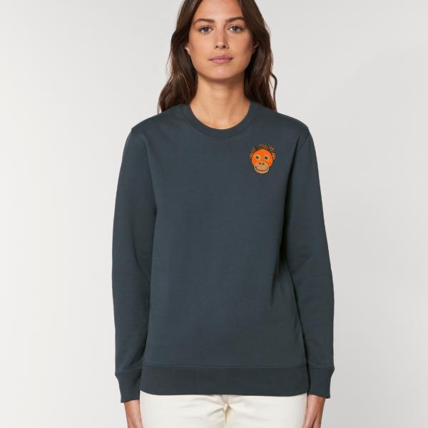 tommy and lottie adults organic cotton save the orangutan sweatshirt - ink grey