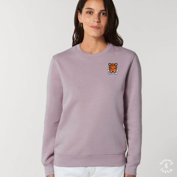 tommy and lottie adults organic cotton tiger sweatshirt - lilac petal