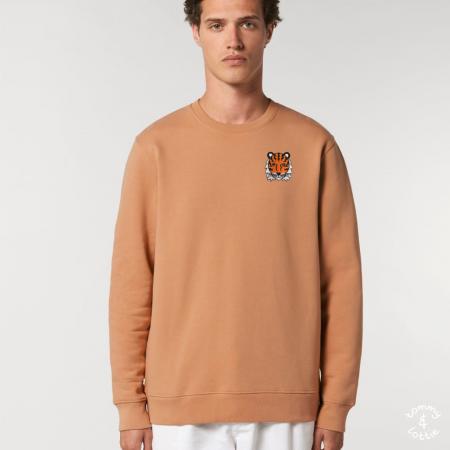 tommy and lottie adults organic cotton tiger sweatshirt - mushroom