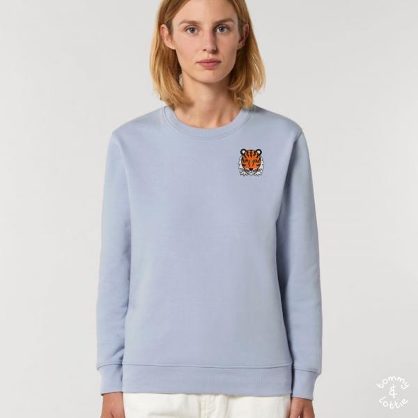 tommy and lottie adults organic cotton tiger sweatshirt - serene blue