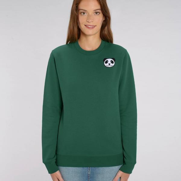 tommy and lottie adults organic panda sweatshirt - bottle green