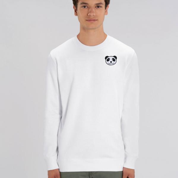 tommy and lottie adults organic panda sweatshirt - white
