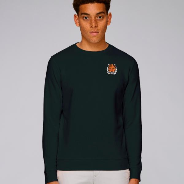 tommy and lottie adults organic tiger sweatshirt - black