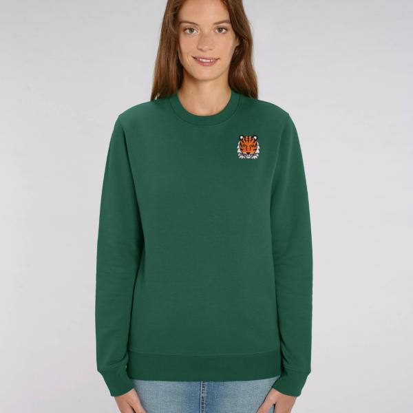 tommy and lottie adults organic tiger sweatshirt - bottle green