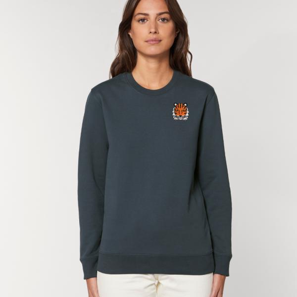 tommy and lottie adults organic tiger sweatshirt - ink grey
