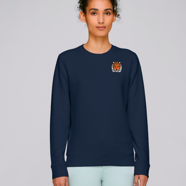 tommy and lottie adults organic tiger sweatshirt - navy