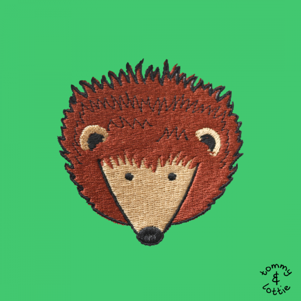 tommy & lottie close up of hedgehog embroidery design