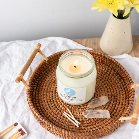 lit essential oil candle